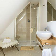 40 Interesting Tiny House Bathroom Shower Design Ideas And Remodel Small Attic Bathroom, Loft Bathroom, Tiny House Bathroom, Upstairs Bathrooms, Bathroom Renos, Bathroom Interior, Remodel Bathroom, Small Bathrooms, Master Bathroom