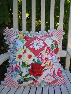 Vintage Tablecloth Patchwork Pillow by cherished*vintage, via Flickr