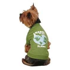 Casual Canine Bark If You Love The Planet Pet Tee Shirt - Green *** Find out more details by clicking the image : Dog shirts
