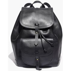 MADEWELL The Transport Rucksack ($198) ❤ liked on Polyvore featuring bags, backpacks, backpack, true black, madewell bags, one strap bag, top handle bags, leather strap backpack and real leather backpack