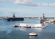 Pearl Harbor - another view of the Arizona where thousands are buried forever