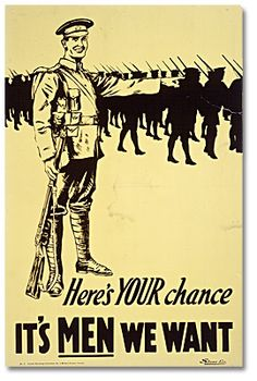In 1914 only three thousand men were on the roster of the regular Canadian army. An appeal was immediately launched for recruits to join the Canadian Expeditionary Force and, as in Britain, large numbers joined up during the euphoria of the first months of the war.