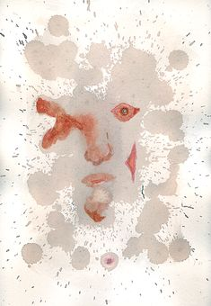 """Orbo"", a mysterious blind man portrait. Print from original watercolor and wine painting by Antonio Bracciale - 20x29 cm"