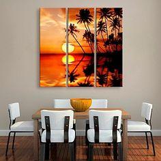 εξατομικευμένη καμβά εκτυπώσετε τη θάλασσα καρύδες 24x70cm 30x90cm πλαισιωμένο σετ ζωγραφικής καμβά του 3 – EUR € 39.99
