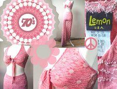 Vintage 70s Original Authentic Lemon U.S.A Pink Soft Lace Two