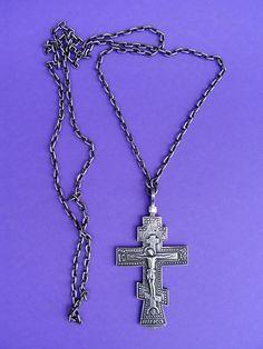 Antiek zilveren ketting met kruis