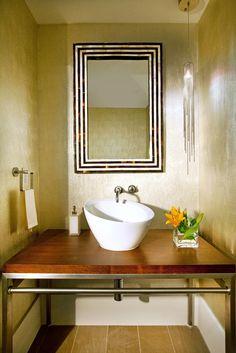 Powder Room -DKOR Interiors Residential Interior Design in Miami, Florida. Unique and sophisticated interior in the Sayan Condominium, Sunny Isles, FL. #lightingfixture #Interiordesign #Interiors #MiamiInteriorDesign #InteriorDesigners #Contemporary #DreamHome #ModernHome #Interiorismo #luxury #powderroom #woodvanity
