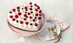 Himbeer-Herzkuchen Cheesecake, Baking, Desserts, Food, Creme, Brown, Chocolate Pies, Fruit Pie, Raspberries