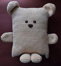 Häkelanleitung – Baby Pillow Name Knitted Teddy Bear, Crochet Teddy, Crochet Bear, Crochet Toys, Teddy Bears, Baby Knitting Patterns, Crochet Patterns, Tricot Simple, Häkelanleitung Baby