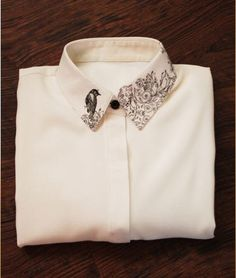 FineArt Collection Japanese painting white spring linen Shirt with bird collar · PurpleFishBowl · Online Store Powered by Storenvy Fashion Details, Diy Fashion, Ideias Fashion, Fashion Dresses, Womens Fashion, Fashion Design, Kleidung Design, Embroidery On Clothes, Painted Clothes