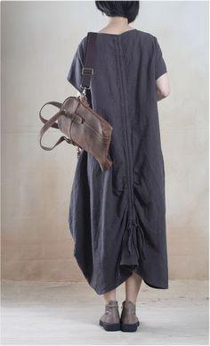 "Material: Linen One size: L-XL L-XL  Length  120cm/47.2""  Bust  114cm/44.9""  Waist  124cm/44.8"" Sleeve 16cm/6.3"""