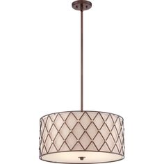 Accentuate your home with this charming 3-light rod-hung pendant. A rustic copper-finished lattice frame surrounds a woven fabric inner diffuser that softly disseminates light for an inviting presents in any home environment.