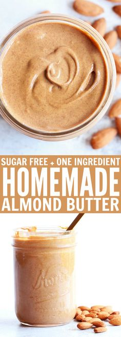 So excited to share with you how to: make homemade almond butter! Just one ingredient (sugar free, oil free) and two steps stand between you and this delicious natural almond butter! thetoastedpinenut.com #howto #diy #homemade #paleo #sugarfree #oneingredient #healthy #oilfree #almondbutter #nutbutter #thetoastedpinenut