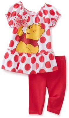 Disney Baby Girls' Winnie Polka Dot Ruffle Shirt And Pant Set Disney Baby Clothes, Baby Kids Clothes, Baby Disney, Baby & Toddler Clothing, Little Girl Outfits, Cute Outfits For Kids, Toddler Outfits, Baby Girl Fashion, Toddler Fashion