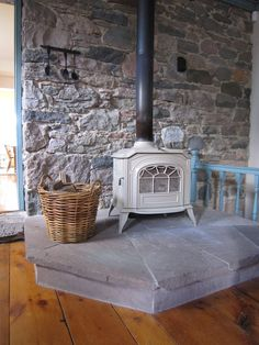 woodstove and stone