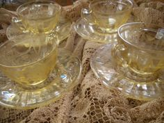 Vintage 1930s Yellow Depression Glass Tea Set 4 Cups Saucers Ballerina Anchor Hocking on Etsy, $100.00