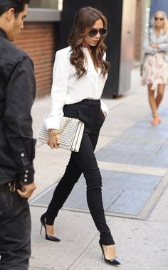 Cigarette pants and black pumps with a white shirt, classic
