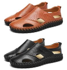 8250235e0697 Men Hand Stitching Soft Sole Hole Breathable Leather Sandals is comfortable  to wear