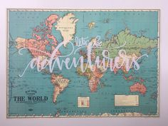 world map vintage style map screen printed map lets be adventurers