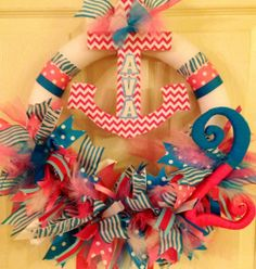 Nautical Birthday or Baby Shower Wreath by PurplePetalDesign, $68.00