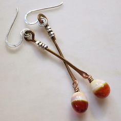 Lucinda Storms : Belvedere Beads - earrings - lampwork glass, bronze & sterling silver