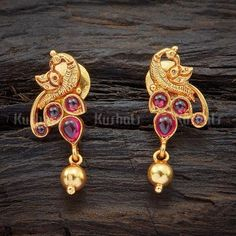 Designer silver temple earrings studded with spinal ruby stones and plated with gold polish and made of pure 925 silver - August 10 2019 at Silver Earrings Online, Gold Earrings Designs, Gold Jewellery Design, Buy Earrings, Handmade Jewellery, Antique Earrings, Antique Jewelry, Golden Jewelry, Silver Jewelry