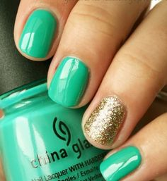 Teal And Gold Nails.