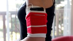 Tube sock into iPhone or mp3 player holder.  Genius!