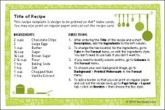 Recipe cards are great ways to share recipes with friends and family. You can use a recipe card template like this one to organize content a...