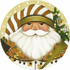 Melissa Shirley Designs   Hand Painted Needlepoint   Golden Santa