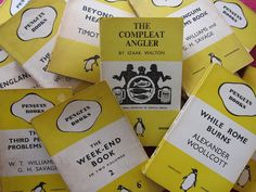 Penguin Miscellaneous • yellow and white cover series • On Penguin's book design: http://en.wikipedia.org/wiki/Penguin_Books#History • Photo by Karyn Reeves, a collector of old Penguins, who has a wonderful blog here: http://apenguinaweek.blogspot.com