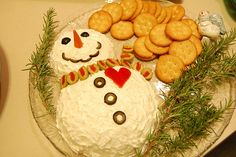 Snowman cheeseball! Cute appetizer for the holidays!
