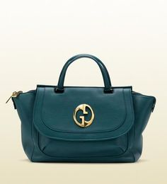 Gucci 1973 Teal Leather Top Handle Bag