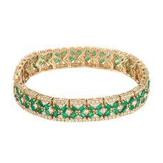 Effy Jewelry Emerald & Diamond Tennis Bracelet in Yellow Gold featured in vente-privee.com
