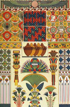 Ancient Egypt Ornaments (Owen Jones's The Grammar of Ornament Originally published in 1856). Examples of Egyptian patterns with the shared colour palette of blues, greens, golds and reds: