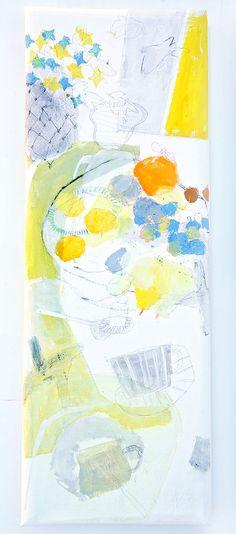 Hanarereba hanareru'hodo (2013) Oil on canvas, ink, charcoal, coloured pencil 800x280x45mm (by mayakonakamura)