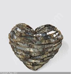 Line Vautrin, Heart Brooch, talosel and glass, 1 ½ x 1 ¾ inches Sotheby's, lot 146, Arts Décoratifs du XXe siècle, 20th century Applied Arts, Paris, Monday, May 17, 2004.   Hammer price 3,600 Euro http://www.artvalue.com/auctionresult--vautrin-line-1913-1997-france-broche-coeur-1913044.htm
