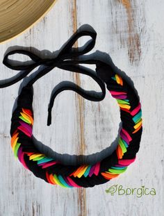 Neon Rainbow Ombre Bib Braided Necklace Statement por Borgica