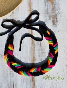 Neon Rainbow Ombre Bib Braided Necklace Statement Braided