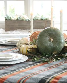 Heirloom pumpkins are everything this year! I love their muted color palette and their flattened shapes – they're sooo cute! It's fun to mix and match a few different ones at the center of the table and then soften the look with small twigs and branches from the garden.  I used olive branches for this look – a favorite symbol of peace – we all need a little more of that, right? In this case, I love the warm gray-green color of the leaves!