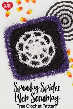FREE CROCHET pattern - Spooky Spider Web Scrubby in Scrubby yarn. Even ghosts and ghouls need to clean up now and then! This spider web-inspired dishcloth is a fun way to spook things up as you scrub away. Halloween Crochet Patterns, Easy Crochet Patterns, Cloth Patterns, Crochet Ideas, Crochet Pumpkin, Crochet Fall, Free Crochet, Halloween Crafts, Halloween Kitchen