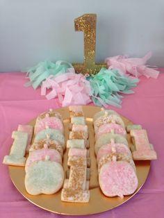 Aqua teal gold, first birthday, tissue paper garland. #1 cookies, pumpkin cookies, October birthday