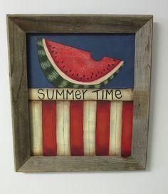 Summer Time Barn Wood Framed Patriotic Scene by barbsheartstrokes, $34.00