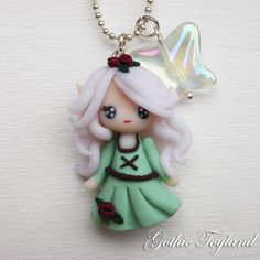 Kawaii Cuties Sweet  Elf Fairy Pendant Necklace with Polymer Clay Mint Green. €12.00, via Etsy.