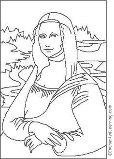 aula de artes retrato monalisa para colorir - Pesquisa Google