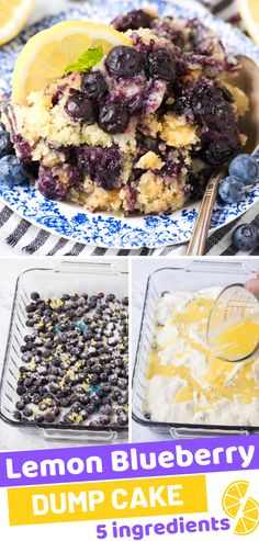 Summer Southern Food Use fresh or frozen blueberries and a box of lemon cake mix to make lemon blueberry dump cake! It tastes just like a homemade cobbler. No mixing or additional bowls needed for this dump cake with blueberries.