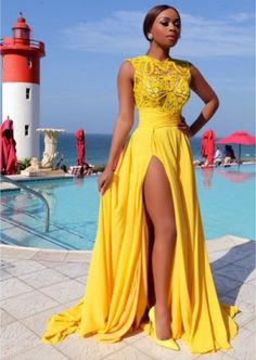 Prom dresses Formal Dress 2016 Yellow Chiffon Prom Dresses Thigh-High Slit Sexy Summer Evening Gowns