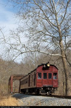 Wilmington & Western's restored PRR Doodlebug traverses the trestle in Ashland, DE en route to Hockessin greeting the first week of Spring in March of 2014.