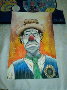 Original Clown art hobo clown tramp mixed media colorful wall art home decor by tyart2479 on Etsy https://www.etsy.com/listing/256943419/original-clown-art-hobo-clown-tramp