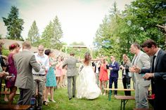 lovely recessional at this boho chic wedding in France